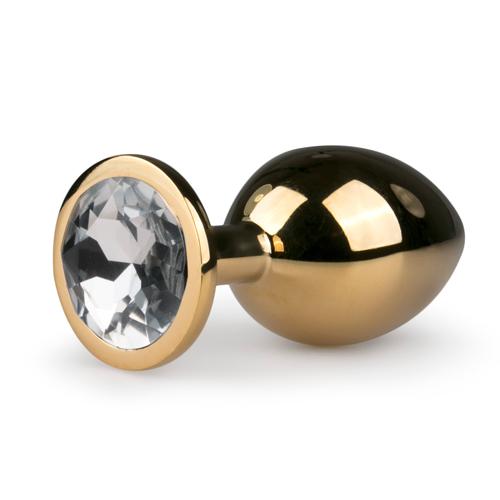 Metalen buttplug met transparante diamant - goudkleurig